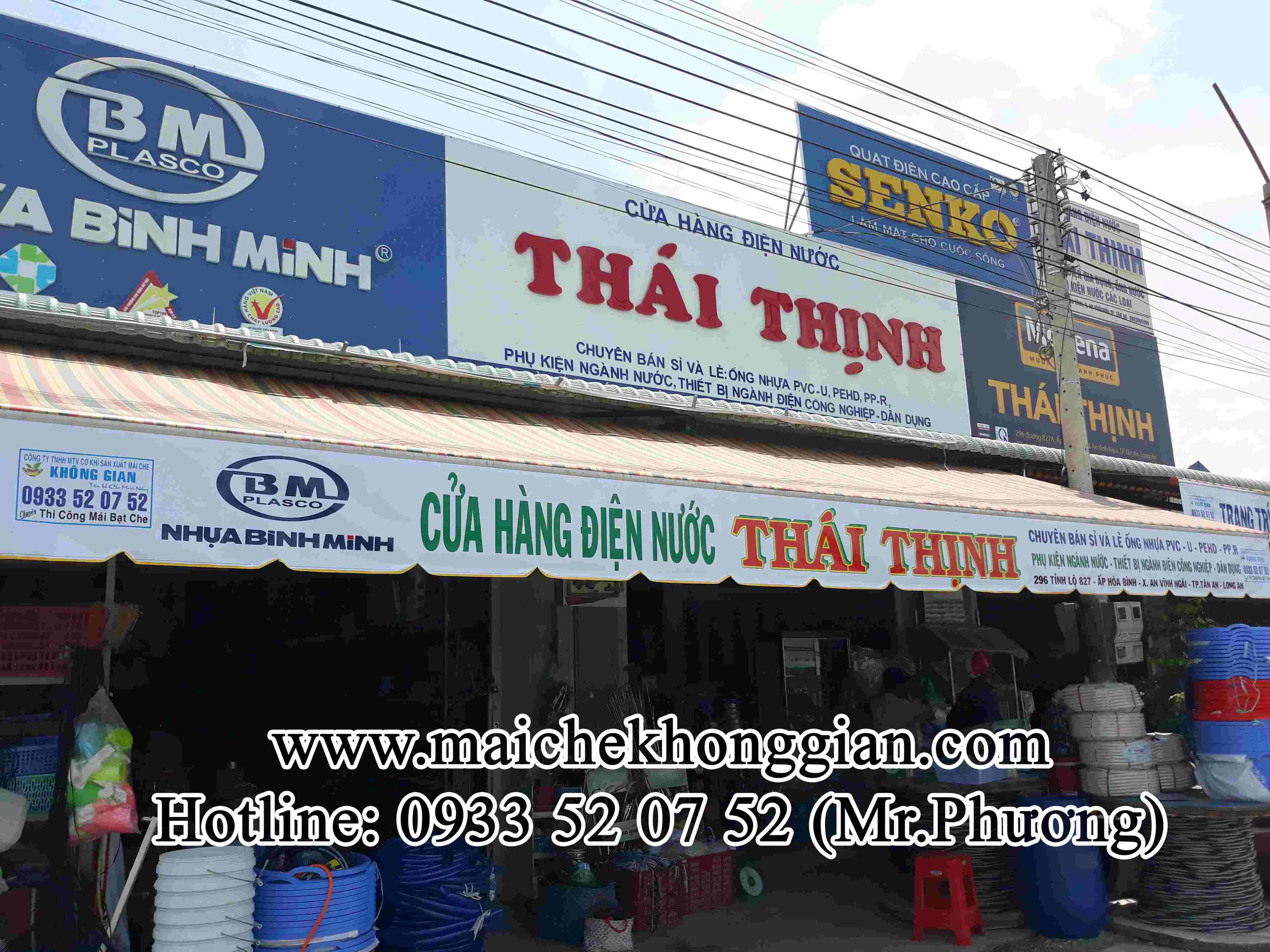 Mái Hiên Quảng Cáo Cửa Hàng Tân Phước Tiền Giang